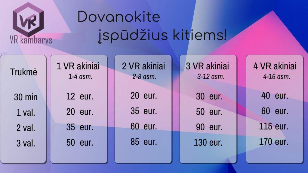 VR kambarys kainos